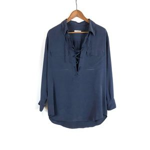 Equipment Silk Long Sleeve Front Tie Tunic Blouse